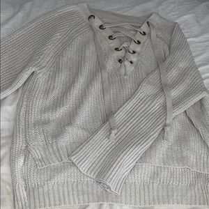 SHEIN Lace-Up Sweater